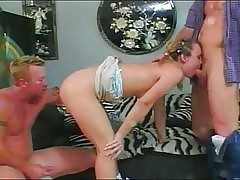 Teen ass slapped before getting two cocks inside