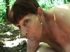Granny forest sucking big stiffy fucking doggie