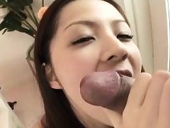 Very first experience in stiff modes for Rika Koizumi hairy pussy