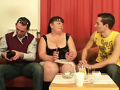 Meaty mature stunner takes two penises at once