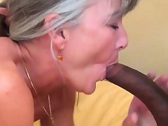Grey haired granny loves hefty ebony cock