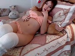 Holly amazing redhead teenager toying cootchie with a huge dildo