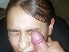 Marvelous female can't stop smiling while she gets a huge facial cumshot