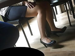 Candid feet and high-heeled slippers at work #21