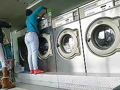Laundromat Creep Shots 2 sluts with round cabooses and no hooter-sling