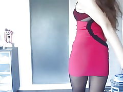 Red dress, hose pipe and heels