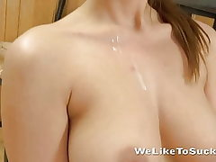 Cock fellating nubile nervously works the trouser snake and balls! -