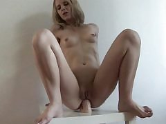 Imposing fake penis fits is blonde's narrow ass-fuck