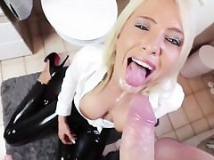 Blonde stunner gets her anal crevice stuffed and then gets on her knees to munch cum