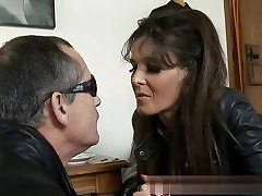 Fabulous babe dressed in leather ready to have hard sex with this insatiable fellow