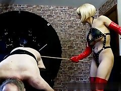 Wild blonde doll is striking this senior dude's ass from behind