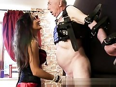 Elder mischievous guy is getting his dick and his mischievous balls abused tough