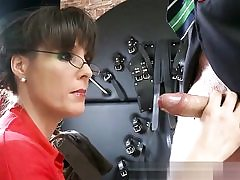 Horny dominatrix is on her knees ready to blow his big huge dick