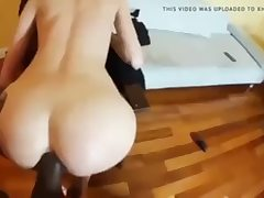 Steaming girlfriend takes a big black dick inside her anus opening